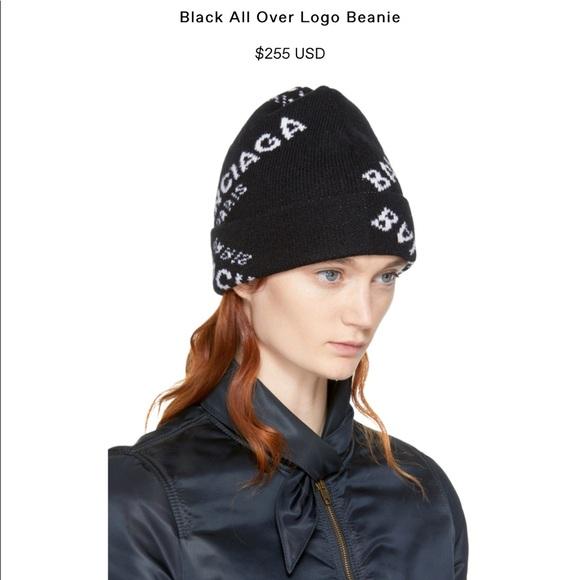 Black Jacquard Logo Beanie Balenciaga KMnKSdy